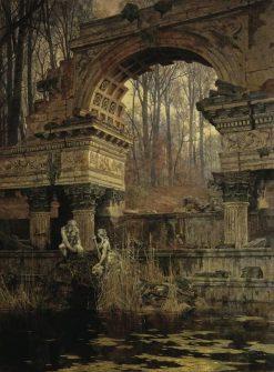 Roman Ruins in Schonbrunn   Carl Julius Rudolf Moll   Oil Painting