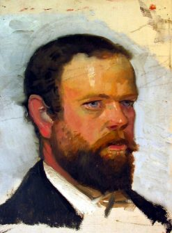 An unfinished portrait of Adrian Stokes | Michael Peter Ancher | Oil Painting