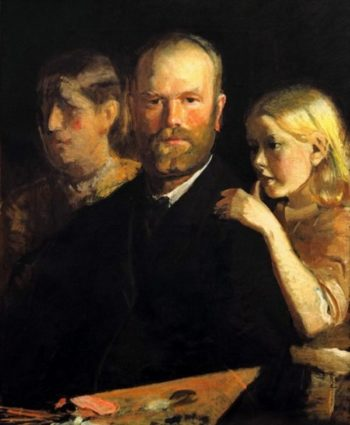 Selfportrait with Anna and Helga | Michael Peter Ancher | Oil Painting
