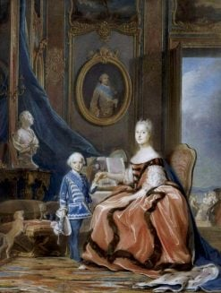 Marie Josèphe of Saxony with her son the Duke of Burgundy | Maurice Quentin de La Tour | Oil Painting