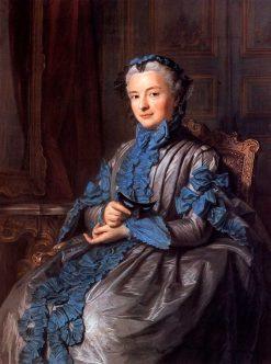 Portrait of Madame de Rieux in Ball-Dress Holding a Mask | Maurice Quentin de La Tour | Oil Painting