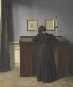 Ida Standing at a Desk | Vilhelm Hammershøi | Oil Painting
