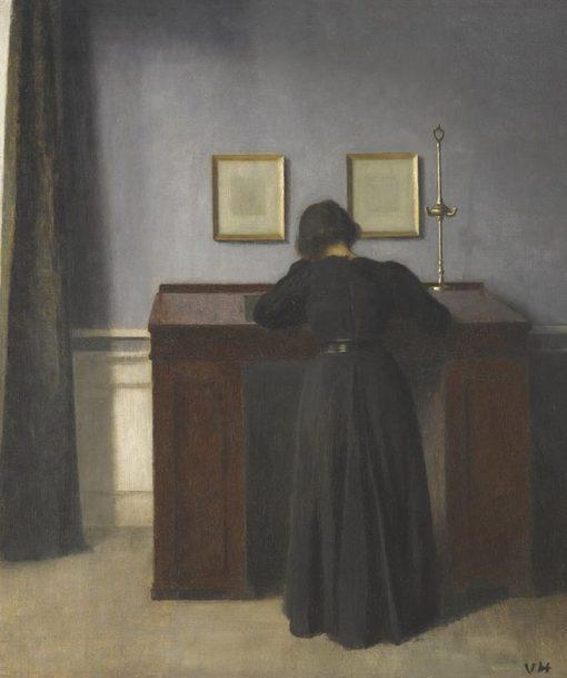 Ida Standing at a Desk | Vilhelm Hammershøi | Oil Painting