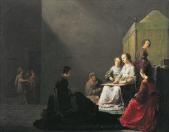 Lucrece at work   Willem de Poorter   Oil Painting