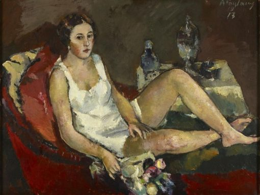 Young Woman on the Red Sofa   Anton Faistauer   Oil Painting