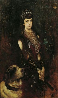 Empress Elisabeth with Saint Bernard Dog | Anton Romako | Oil Painting