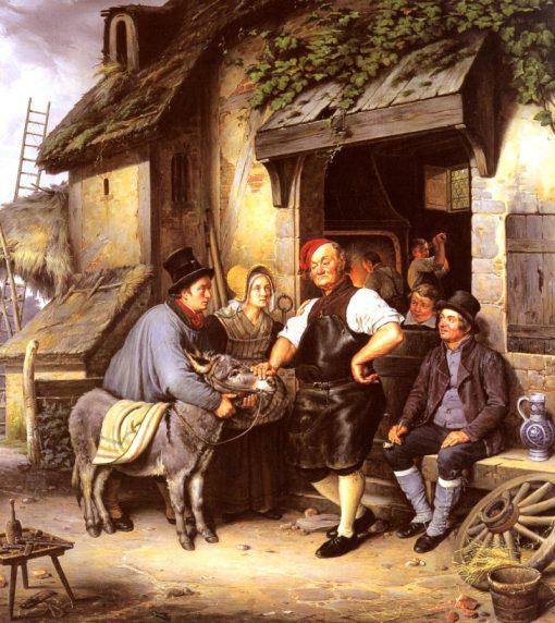 Visit to the veterinarian   Eduard Pistorius   Oil Painting