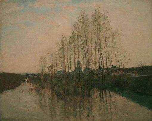 River landscape with washer woman | Carl Fredrik Hill | Oil Painting