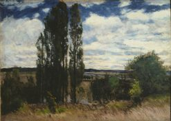 Seine. Landscape with Poplars | Carl Fredrik Hill | Oil Painting