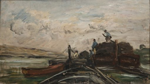 Barges on a River | Charles-Francois Daubigny | Oil Painting
