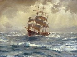 A Barque Running Before a Gale | Thomas Jacques Somerscales | Oil Painting