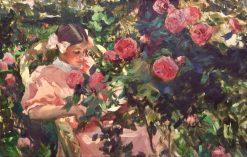 Elena entre rosas | Joaquin Sorolla y Bastida | Oil Painting