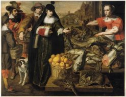 A lady at the fishmarket in Antwerp | Maarten Pepyn | Oil Painting