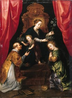 Madonna and Child adored by St Lawrence and St Martha | Maarten Pepyn | Oil Painting