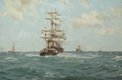 Paddle Tug Towing a Full-Rigged Ship | Thomas Jacques Somerscales | Oil Painting