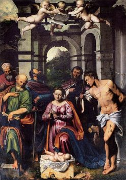 The Adoration of the Christ Child with Saints | Callisto Piazza da Lodi | Oil Painting