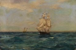 Royal Naval Brig at Sea | Thomas Jacques Somerscales | Oil Painting