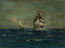 Sailing Vessels off the Coast | Thomas Jacques Somerscales | Oil Painting