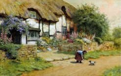 Befriending a puppy outside a cottage garden | Arthur Claude Strachan | Oil Painting