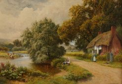 A thatched English cottage on a lake shore | Arthur Claude Strachan | Oil Painting