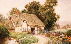 A Cottage by a Duck Pond | Arthur Claude Strachan | Oil Painting