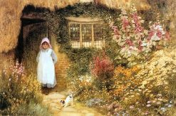 Girl with Dog Outside Cottage | Arthur Claude Strachan | Oil Painting