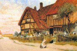 Girl with Kitten Outside a House | Arthur Claude Strachan | Oil Painting