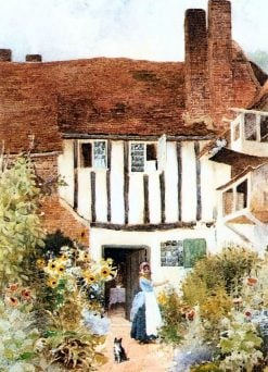 Girl and Cat Outside Cottage | Arthur Claude Strachan | Oil Painting
