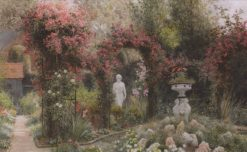 A statue in a romantic garden | Arthur Claude Strachan | Oil Painting