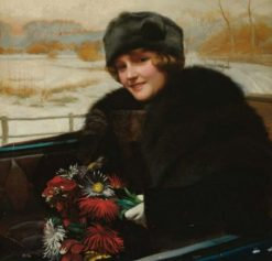 Portrait of a lady in an open topped car | Harold Hume Piffard | Oil Painting