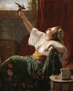 A beauty holding a bird   Louis Emile Pinel de Grandchamp   Oil Painting