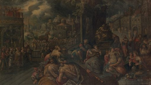 The Trojans celebrate the arrival of the wooden horse in the city | Frederik van Valckenborch | Oil Painting