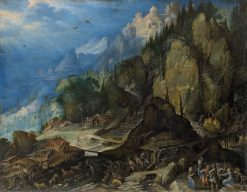 Mountain landscape with two water mills | Frederik van Valckenborch | Oil Painting