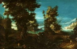 Landscape with a river and trees | Frederik van Valckenborch | Oil Painting