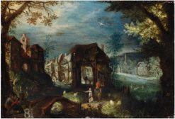 View of a town   Frederik van Valckenborch   Oil Painting