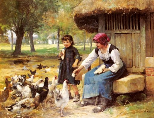 Feeding the Chickens | Julien Dupre | Oil Painting