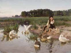 Girl with Geese | Nikolai Bodarevsky | Oil Painting