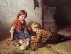 Feeding the Rabbit | Felix Schlesinger | Oil Painting