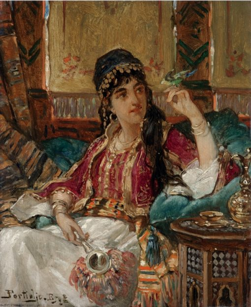 A harem beauty with a songbird | Jan Frederik Pieter Portielje | Oil Painting