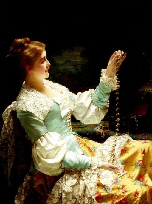 Admiring Her Jewels   Jan Frederik Pieter Portielje   Oil Painting