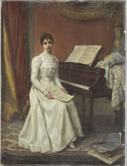 Interior scene of a young lady wearing a white dress seated at a piano forte | Jan Frederik Pieter Portielje | Oil Painting
