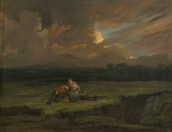 A Soldier and His Wife and Child in a Stormy Landscape | Edward Villiers Rippingille | Oil Painting