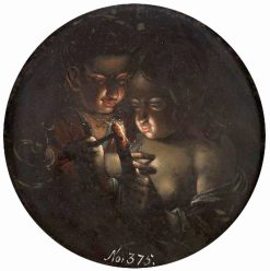 Boy and girl lighting a candle | Dirk de Quade van Ravesteyn | Oil Painting