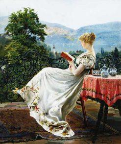 Reading on the Terrace | Johann Hamza | Oil Painting