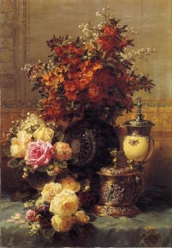 Still Life with Roses and Flowers | Jean Baptiste Robie | Oil Painting