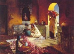 Gathering Roses | Rudolf Ernst | Oil Painting
