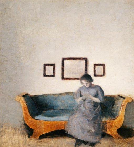 Ida Hammershoi on the Sofa | Vilhelm Hammershøi | Oil Painting