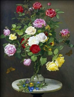 A bouquet of roses on a marble table | Otto Didrik Ottesen | Oil Painting