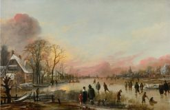 Frozen River at Sunset | Aert van der Neer | Oil Painting
