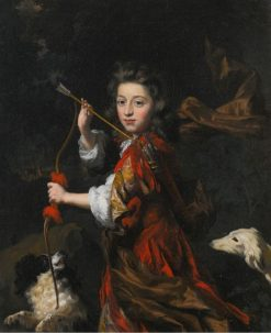 Portrait of a Young Nobleman with Two Dogs | Nicolaes Maes | Oil Painting
